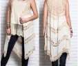 Plus Size Long Crochet Vest In Natural