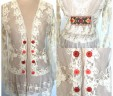 Lace Ruffle Cardigan Button Accents