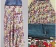 Denim Floral Skirt