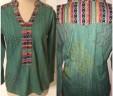 Aztec Print Shirt ~ Teal