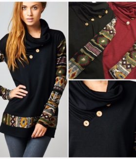 Cowl Neck Tribal Sweater With Buttons