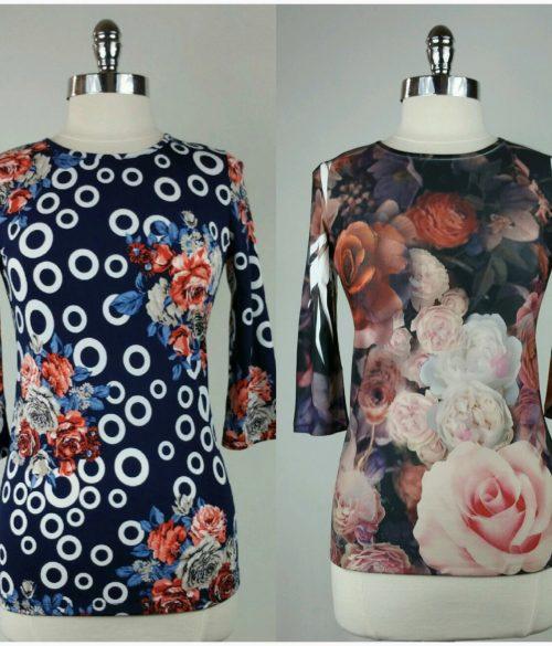 Floral Rose 3/4 Sleeve Top