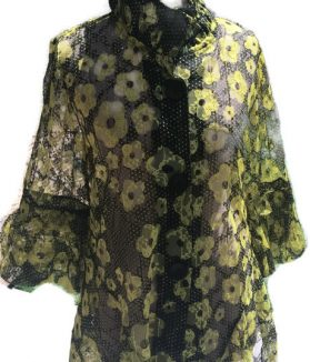 Black yellow floral jacket