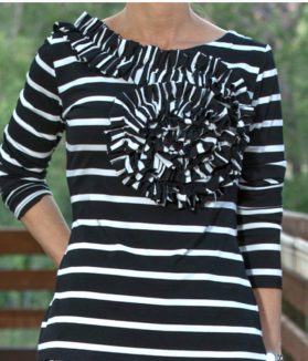 black white striped top jadore