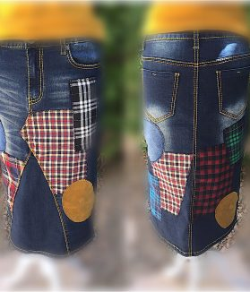 The tartan denim skirt