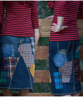 Tartan plaid denim skirt
