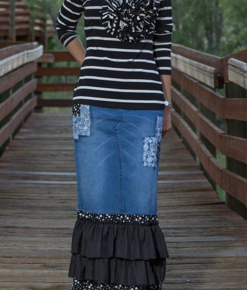 Dot Denim Ruffle Skirt