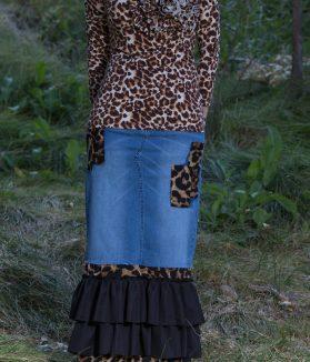 Leopard denim ruffle skirt