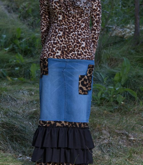 Leopard Ruffle Denim Skirt