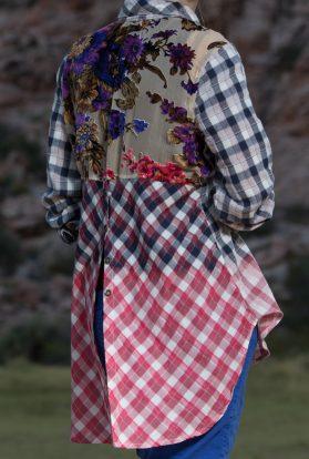 Plaid floral button up ombre top
