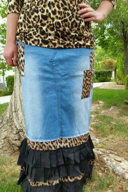 Leopard Ruffle Denim Skirt