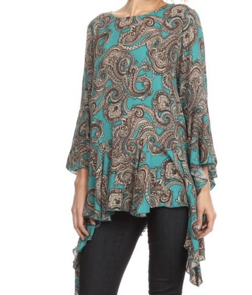 Teal & Brown Asymetrical Blouse