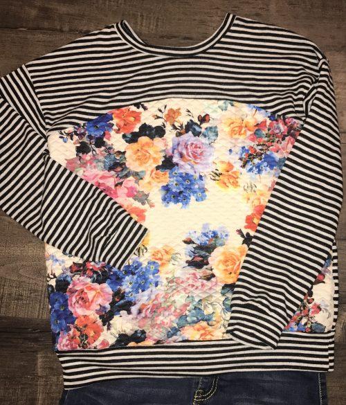 Floral Stripe Long Sleeve Top