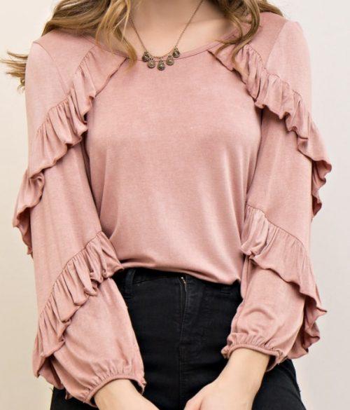 Pink Ruffle Layered Long Sleeve Top