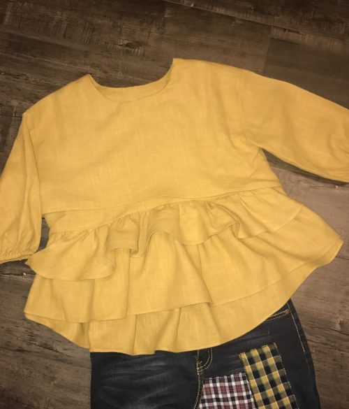 Mustard Layered Top 3/4 Sleeves