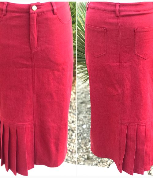 Red Denim Pleated Pencil Skirt