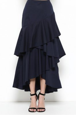 Ruffle Asymmetrical Maxi Skirt Navy