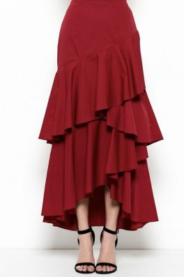 Ruffle Asymmetrical Maxi Skirt Burgundy Red