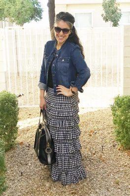Gingham Ruffle Eleganza Skirt