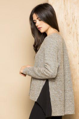 Pleated Pocket Sweater