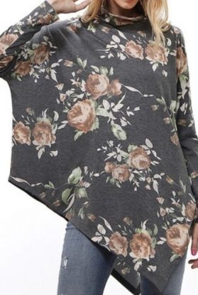 Floral Rose Long Sleeve Tunic