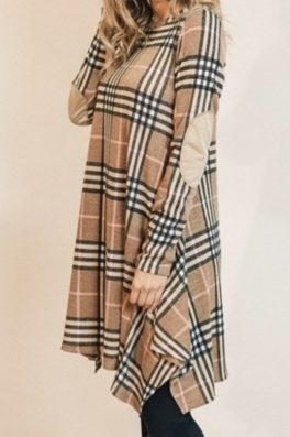 Plaid Swing Dress With Elbow Patches