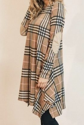 Cowlneck plaid swing dress with elsbow patches -tan