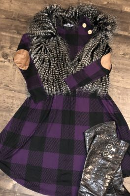 Ultra Violet Plaid Swing Dress