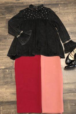 Plus Size Pencil Skirt Burgundy
