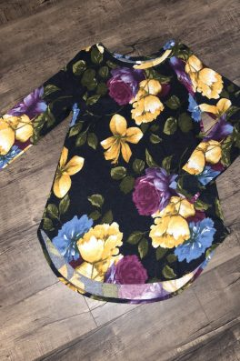 Navy Floral High Low Tunic Sweater