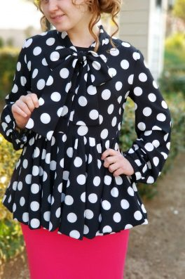 Black White Polka Dot Peplum Bow Top
