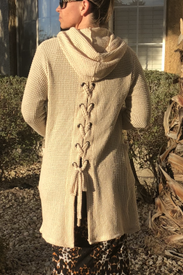 Hooded Waffle Cardigan Braided Back Tie