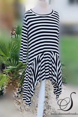 Striped Tunic Three Quarter Sleeves
