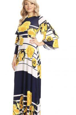 Long Ruffle Sleeve Maxi Dress