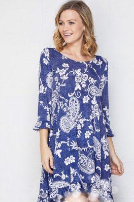 Swing Ruffle Tunic Dress Blue