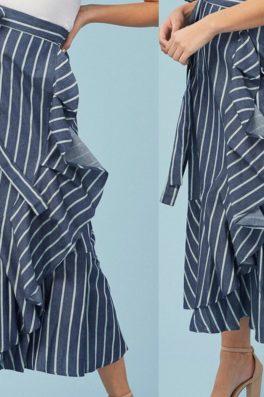 Dark Blue Ruffle Pinstripe Wrap Skirt