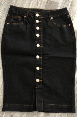 Black Button Down Denim Skirt