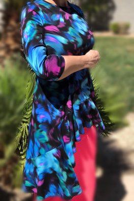 Zari Ruffle Tunic – Blue Brush