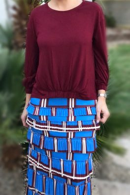 Pleated Eleganza Skirt ~ Blue Plaids