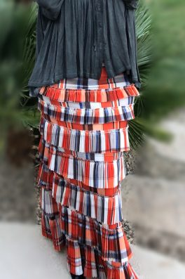 Plaid Pleated Eleganza Skirt ~ Orange