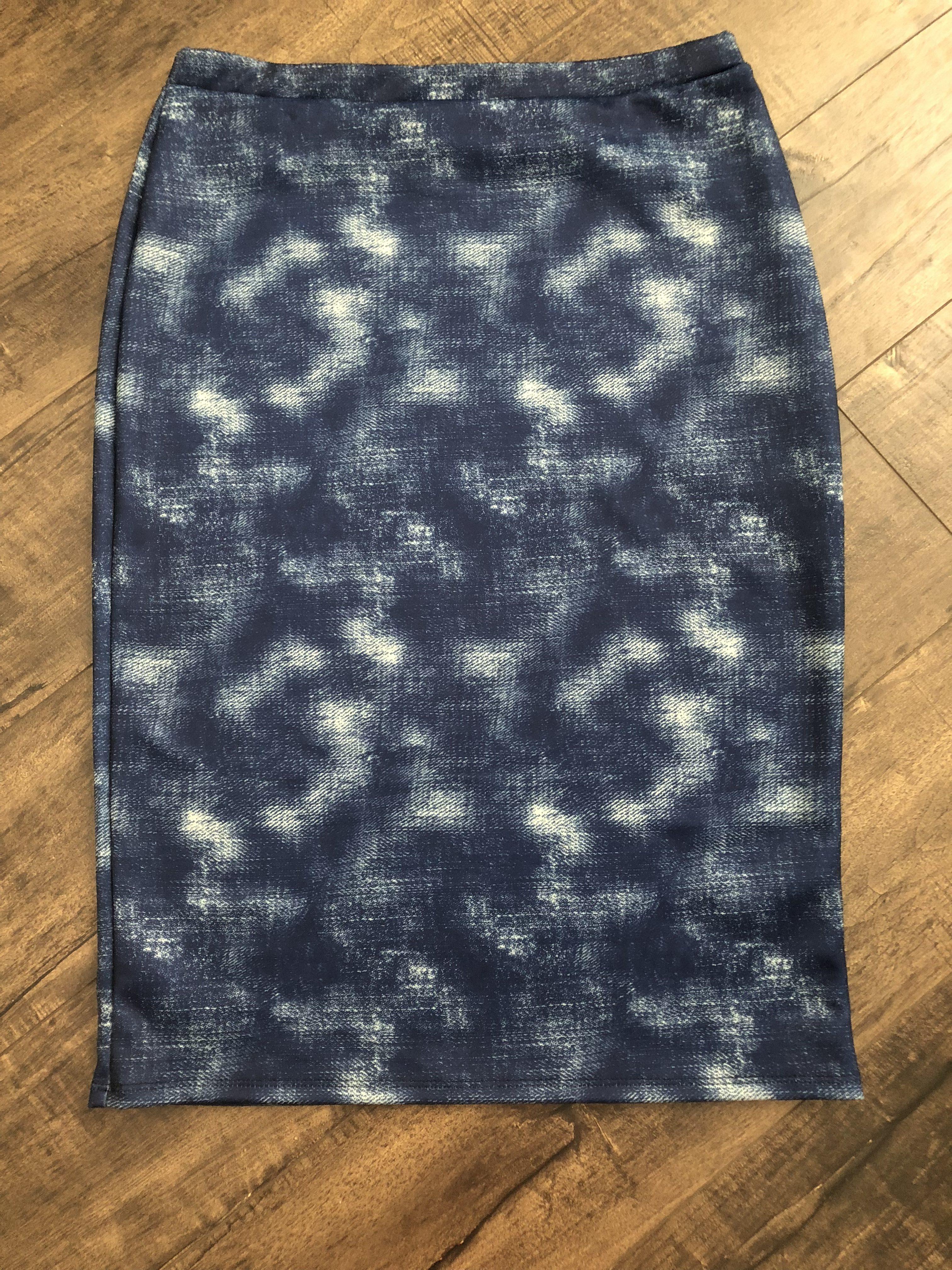 Brushed denim pencil skirt