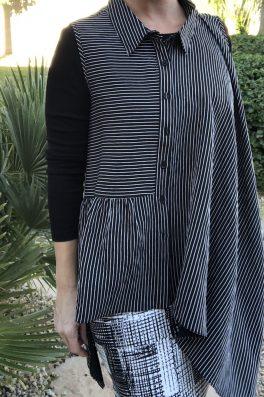 Black Pinstripe Asymmetric Top
