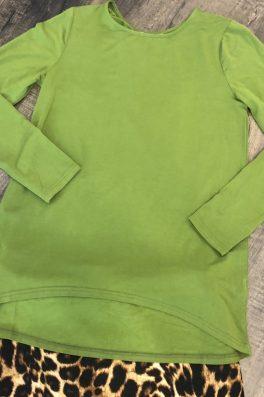 Green Long Sleeve Hi Low Top