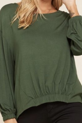 Olive Solid Knit High Low Top