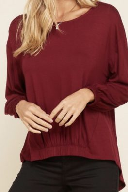 Burgundy Solid Knit High Low Top