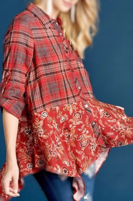 Red Asymmetric Long Sleeve Plaid Floral Top