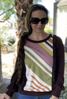 Brown print sweater
