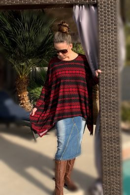 Red Poncho With Sleeves