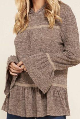 Heather brown lace hoodie