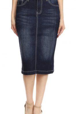 Denim Pencil Skirt Dark Indigo